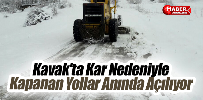 Kavak'ta Kar Nedeniyle Kapanan Yollar Anında Açılıyor