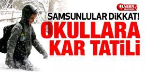 Kar Yağışı Samsun'da Okulları Tatil Ettirdi