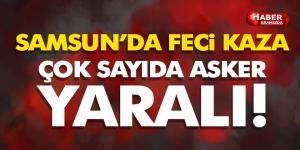 Samsun'da Otobüs Devrildi! Feci Kazada 46 Asker Yaralı!