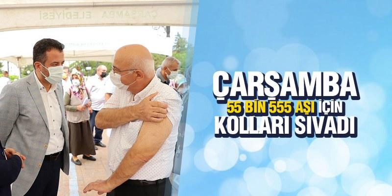 ÇARŞAMBA 55 BİN 555 AŞI İÇİN KOLLARI SIVADI